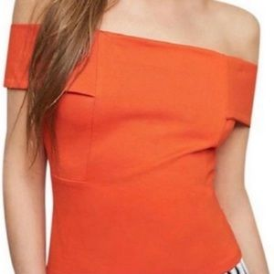 Deletta by Anthro Coral Off-Shoulder Top